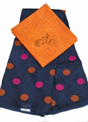 Navy Blue Jute Silk Saree in Magenta Orange Polka Dots