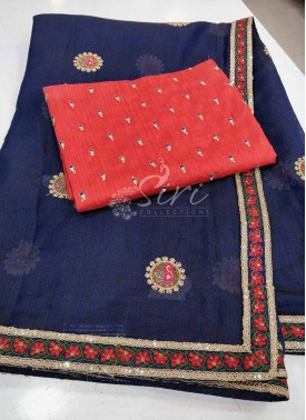Navy Blue Kala Silk Saree in Designer Border and Butis