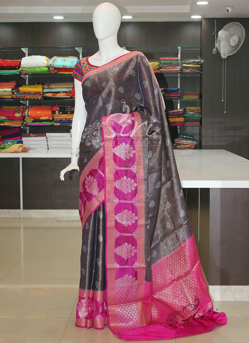 Navy Blue Magenta Soft Kora Silk Saree
