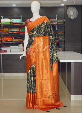 Navy Blue Orange Digital Print Patola Design Fancy Silk Saree