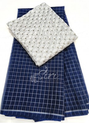 Navy Blue Organza Saree in Silver Checks with Designer Blouse Fabric