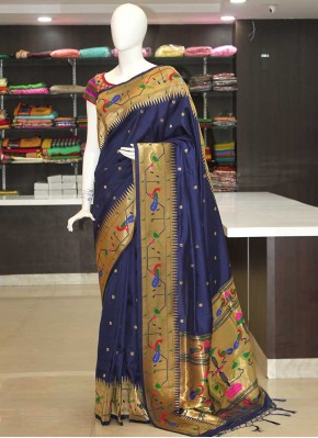 Navy Blue Peacock Design Fancy Paithani Silk Saree