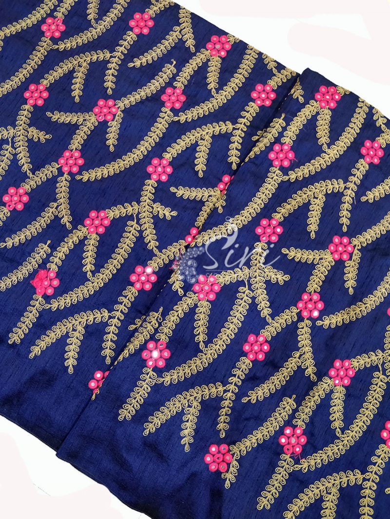 Navy Blue Raw Silk Fabric in Embroidery Work Per Meter