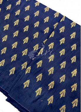 Navy Blue Raw Silk Fabric in Zari Embroidery and Sequins Butis Per Meter
