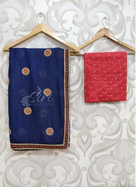 Navy Blue Soft Jute Designer Saree