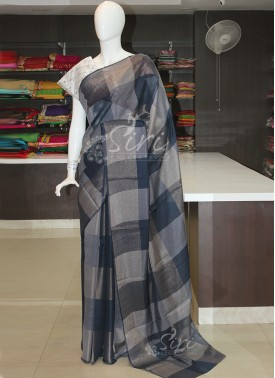 Navy Blue Soft Jute Saree in Silver Gold Checks