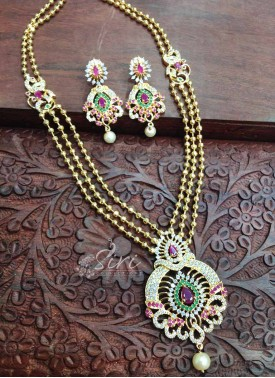 Necklace Set in balls chain with AD Pendant Set in Gold Micro Polish