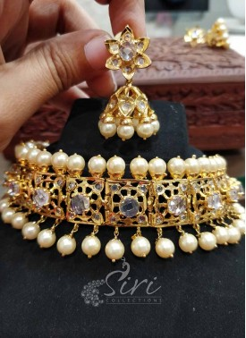 Nizam Jewellery Design Stone and Pearl Choker Set