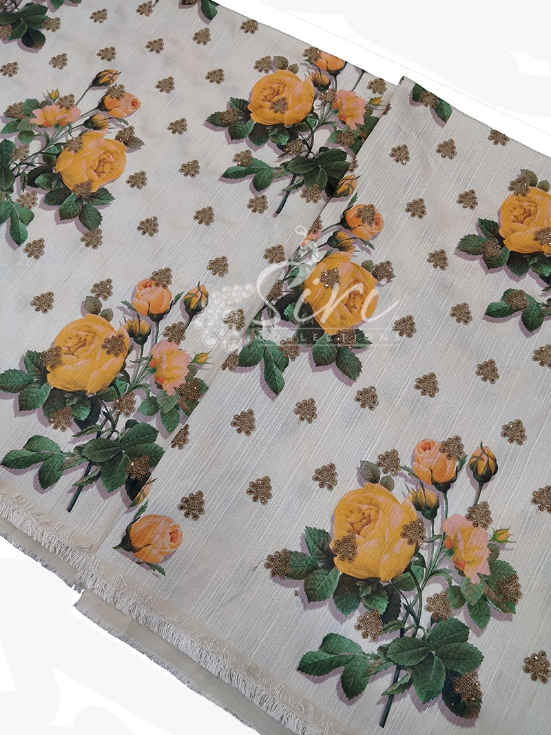 Off White Raw Silk Fabric in Digital Print and Embroidery Work Per Meter