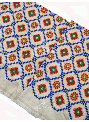 Off White Raw Silk Fabric in Embroidery Work Per Meter
