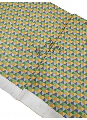 Off White Raw Silk Fabric in Green and Yellow Blow Print Embroidery Work