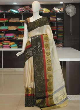 Offwhite Banarasi Kora Saree in Black Grey Borders
