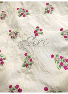 Offwhite Banarasi Silk Fabric in Embroidery and Sequins Work Butis Per Meter