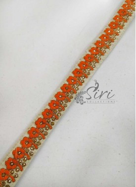 Offwhite Border Lace in Orange Embroidery Work and Stone Work
