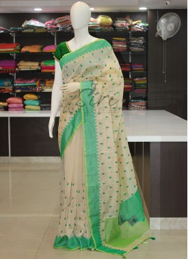 Offwhite Chanderi Saree in Applique Work and Embroidery Work