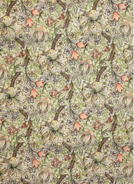 Offwhite Chanderi Seico Fabric in Green and Orange Digital Print by Meter