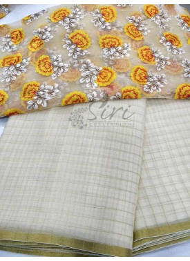 Offwhite Chiffon Saree in Self Zari Checks with Beautiful Designer Blouse