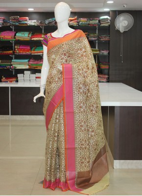 Offwhite Cream Designer Organza Saree in Self Weave