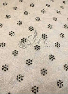 Offwhite Cream Soft Raw Silk Fabric in Black Gold Butis Per Meter