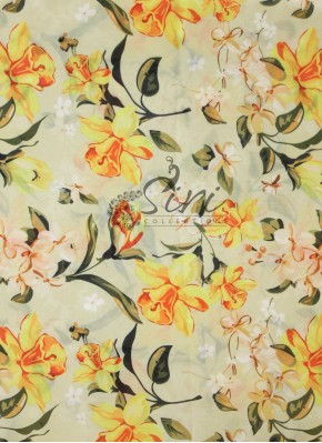 Offwhite Satin Georgette Fabric in Yellow and Green Digital Print by Meter