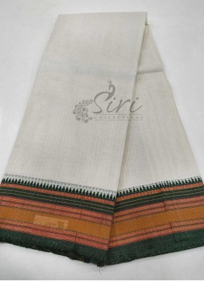 Offwhite Dark Green Pure Narayanpet Cotton Saree