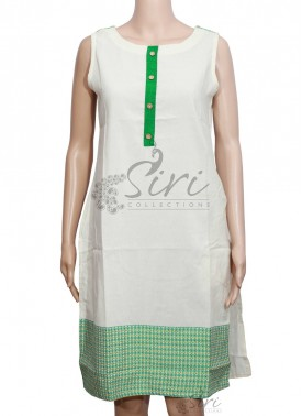Offwhite Green Khadi Cotton Kurti