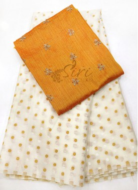Offwhite Jacquard Crepe Saree in Self Polka Dot Butis