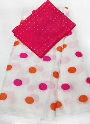 Offwhite Jute Silk Saree in Self Polka Dots