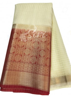 Offwhite Organza Checks Fabric with Red Contrast Kanchi Border per meter