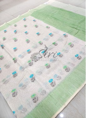 Offwhite Pure Banarasi Linen Saree in Embroidery Work Butis