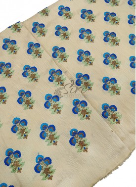 Offwhite Raw Silk Fabric in Blue Embroidery Work Butis Per Meter