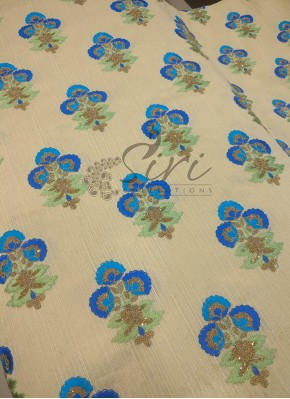 Offwhite Raw Silk Fabric in Blue Embroidery Work Per Meter
