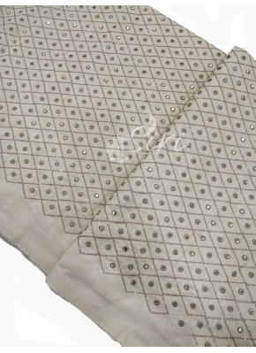 Offwhite Raw Silk Fabric in Embroidery and Fancy Mirror Work Per Meter