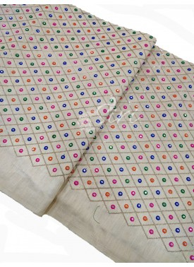 Offwhite Raw Silk Fabric in Multi Embroidery and F