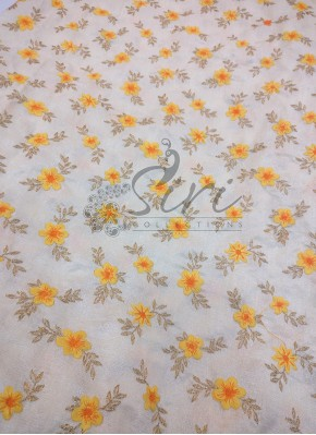 Offwhite Raw Silk Fabric in Yellow Gold Floral Design Embroidery Work Per Meter