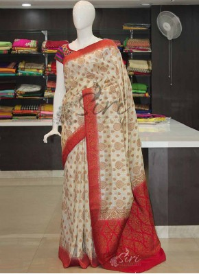 Offwhite Red Banarasi Fancy Dupion Silk Saree