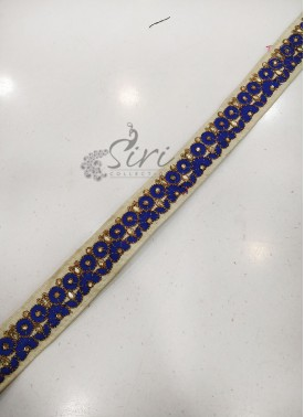 Offwhite Saree Lace Border in Stone Embroidery Work