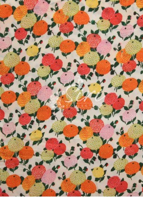 Offwhite Satin Georgette Fabric in Multi Colour Digital Print by Meter