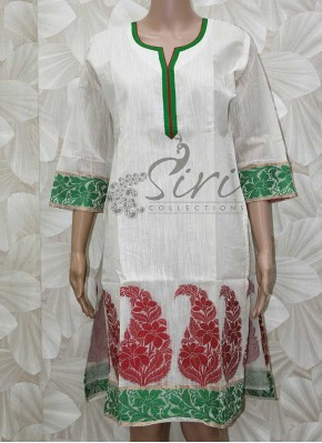 Offwhite Slub Chanderi Cotton Kurti in Self Design