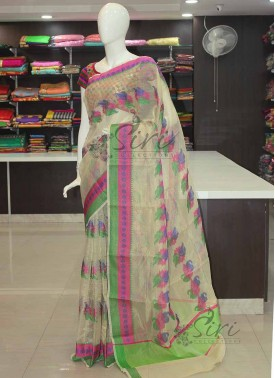 Offwhite Tissue Kota Saree in Multi Colour Self Borders and Butis
