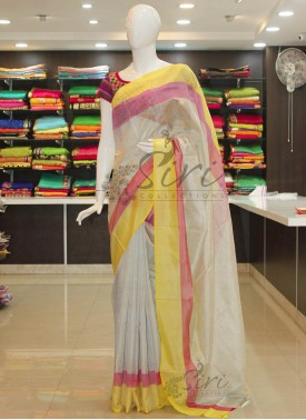 OffWhite Uppada Tissue Saree With Pink Yellow Border