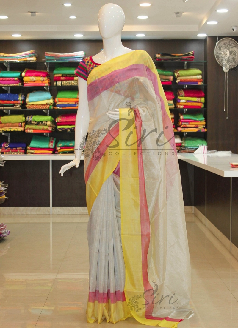 d04c09d855 OffWhite Uppada Tissue Saree With Pink Yellow Border