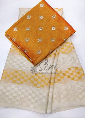 Offwhite Yellow Shimmer Brasso Georgette Saree