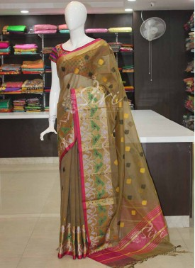 Olive Green Designer Fancy Cotton Silk Saree