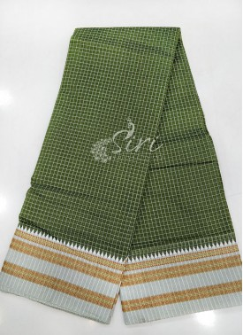 Olive Green Narayanpet Cotton Saree