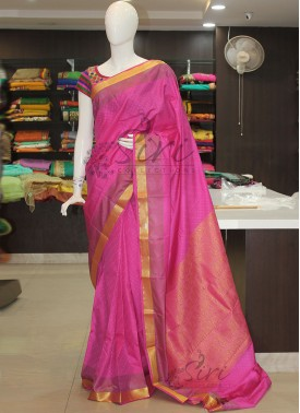 Onion Pink Fancy Art Silk Saree in Kanchipuram Style