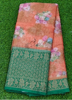 Orange and Rama Green Organza Saree in allover Flower Design with Kanchi Border