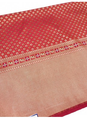 Orange Banarasi Silk Fabric in one side Border Design Per Meter