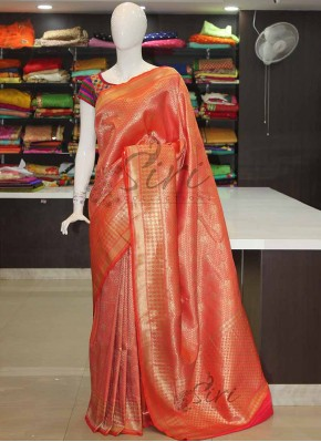 Orange Banarasi Silk Saree in Rich Pallu and Allover Zari Design