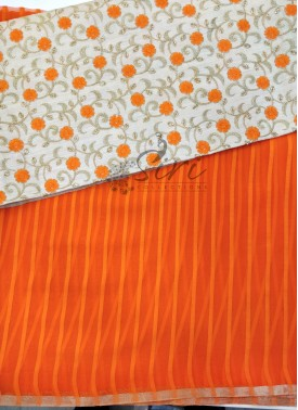Orange Chiffon in Self Stripes Saree with Designer